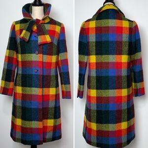 Vintage 1970's ILGWU Rainbow Plaid Wool Coat
